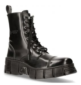 Black Antik Leather New Rock Wall Boots
