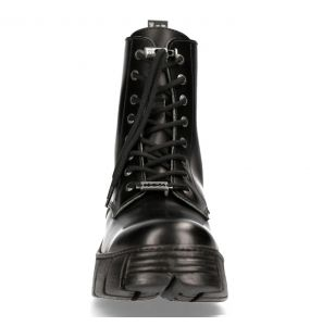 Black Leather New Rock Wall Boots