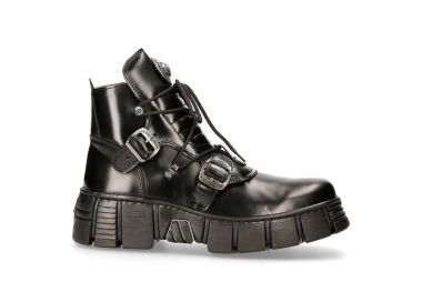 Black Leather New Rock Wall Shoes