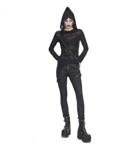 Female's Black 'Cyber Game' Slim Pants