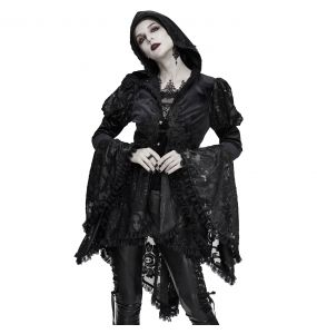 Black 'Elegant Lace' Females Hooded Jacket