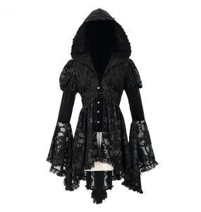 Veste Femmes à Capuche 'Elegant Lace' Noire