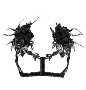 Black 'Roses Noires' Chest Harness