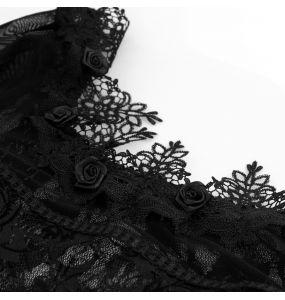 Black 'Femme Fatale' Long Sleeves Top