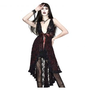 Black and Red Lace 'Romantic Goth' Night Dress