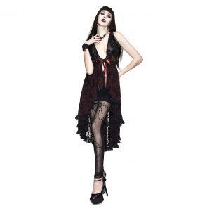 Déshabillé 'Romantic Goth' en Dentelle Rouge et Noire