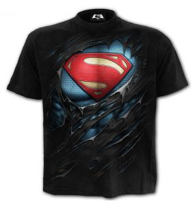 T-Shirt Manches Courtes 'Superman - Ripped' Noir
