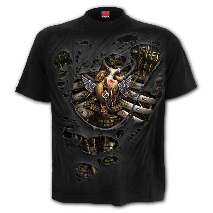 Black 'Steam Punk Ripped' T-Shirt