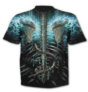T-Shirt Manches Courtes 'Flaming Spine' Noir