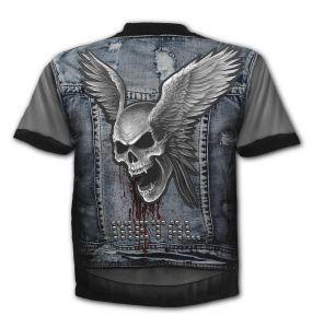 T-Shirt Manches Courtes 'Trash Metal' Bleu et Gris
