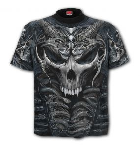 T-Shirt Manches Courtes 'Skull Armor' Gris