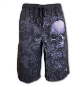 Black 'Skull Scroll' Swim Shorts