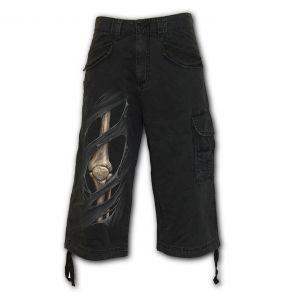 Black 'Bone Rips' Vintage ¾ Long Shorts