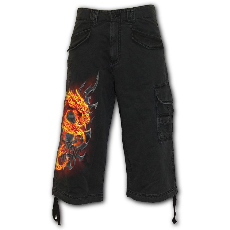 Black 'Fire Dragon' Vintage ¾ Long Shorts