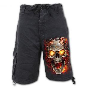 Black 'Skull Blast' Vintage Shorts