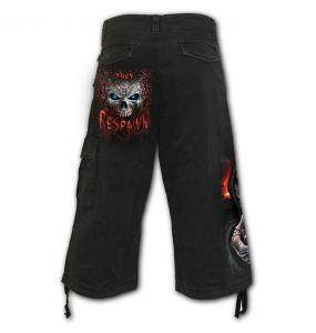 Black 'Respawn' Vintage ¾ Long Shorts