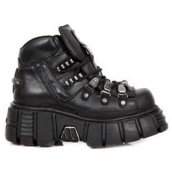 Black Nomada Leather New Rock Metallic Ankle Boots