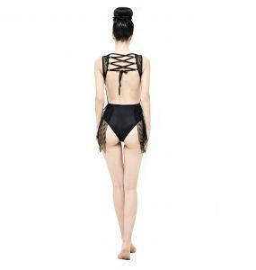 Black 'Finely Gothic' Swimsuit
