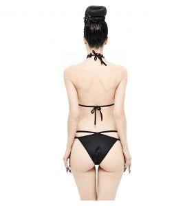Bikini 'Narcissa' Noir avec Tour de Cou en Dentelle