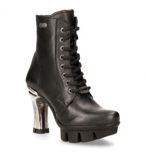 Black Luxor Leather New Rock Punk Ankle Boots