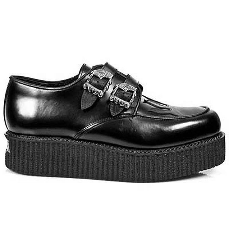 Black Leather New Rock Neo Creeper Shoes