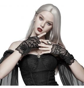 Gothic 'Black Rose' Lace Gloves