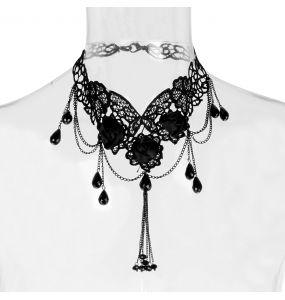 Ras du Cou 'Black Roses' Noir