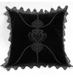 Taie d'Oreiller Décorative 'Velvet Gothic' Noire