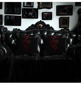 Black 'Red Snake' Decorative Pillowcase