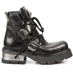 Bottines New Rock Metallic en Cuir Nomada et Itali Noirs