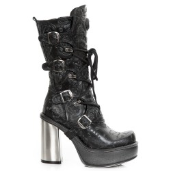 Black Vintage Flower Leather New Rock New Circle Platform Boots
