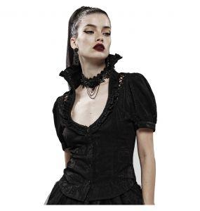 Chemisier Gothique 'Le Fleur Noire' à Manches Courtes