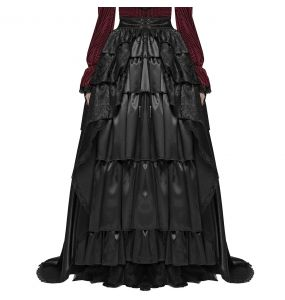 Black Long 'Syrens Song' Victorian Overskirt with Train
