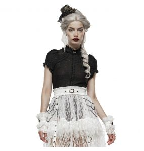 White 'Adelaide' Steampunk Lace Gloves