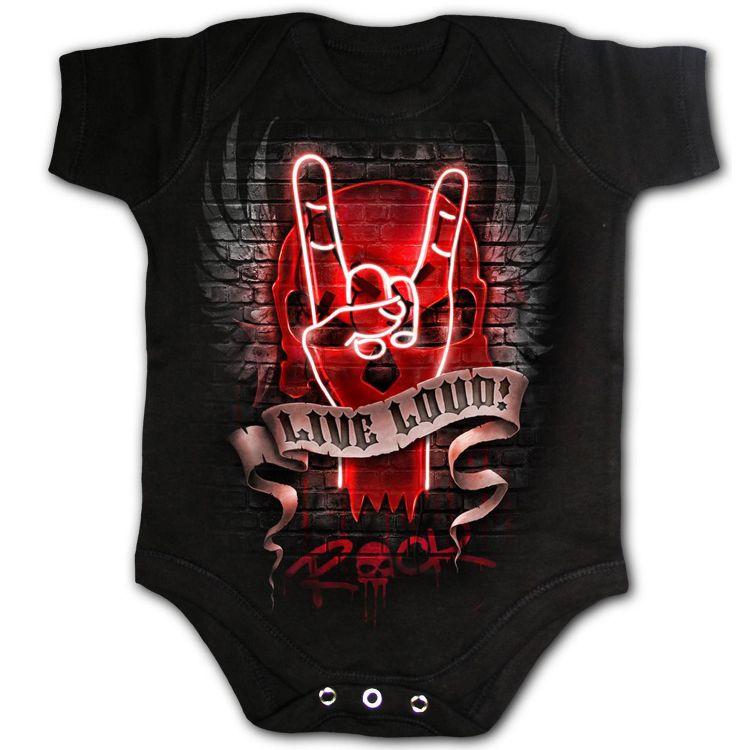 Black 'Live Loud' Baby Sleepsuit