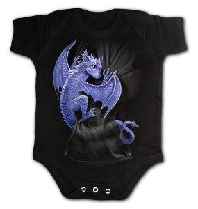 Black 'Pocket Dragon' Baby Sleepsuit