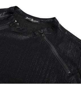 T-Shirt à Manches Longues 'Cyber Punk' Noir Brillant