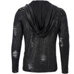 Black 'Diablo Shabby' Hooded Long Sleeves T-Shirt
