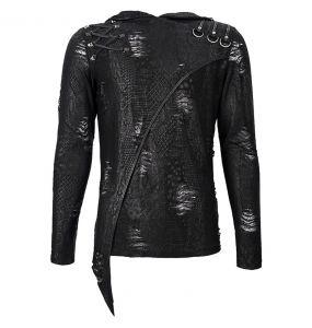 T-Shirt Manches Longues 'Diablo Shabby' à Capuche Noir