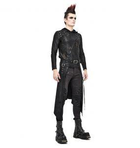 Black 'Catacomb' Male's Mid-Skirt Kilt