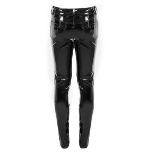 Black Glossy Faux Leather 'Cyber Game' Pants