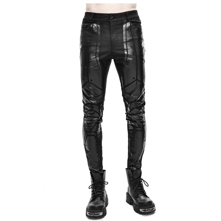 Black 'Robot Armor' Skinny Pants for Men