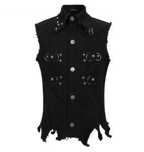 Black 'Distressed Heavy Metal' Waistcoat