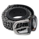 Ceinture 'Motorcycle Chain' en Cuir Noir