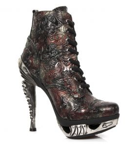 Vintage Flower Leather New Rock Magneto Ankle Boots