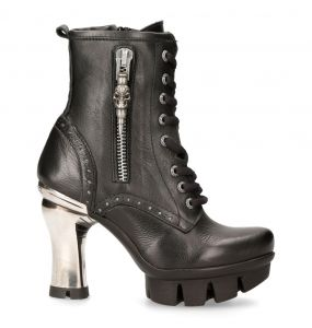 Black Luxor Leather New Rock Neo Punk Ankle Boots