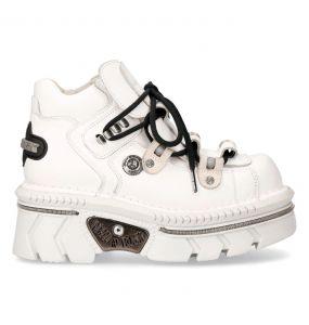 Chaussures New Rock Metallic en Cuir Blanc