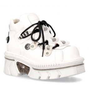 White Leather New Rock Metallic Shoes