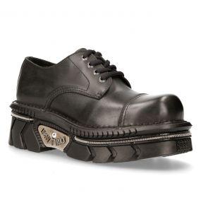 Chaussures New Rock Metallic en Cuir Noir