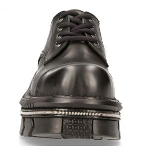 Black Leather New Rock Metallic Shoes